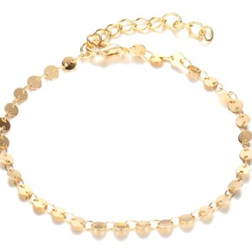 Fashion jewelry anklet personality simple retro alloy round sequined bracelet