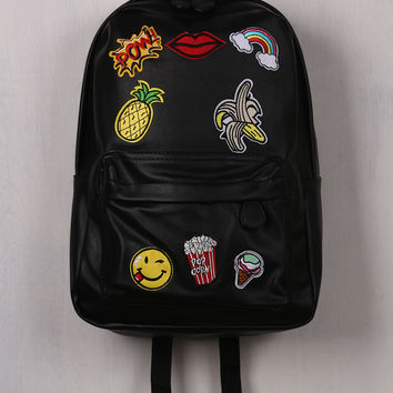 Vegan Leather Graphic Patch Backpack