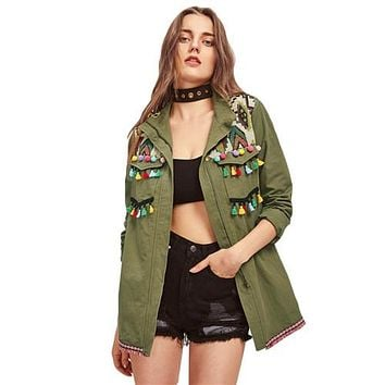Green Lapel Embroidered Yoke Tassel and Pom-Pom Trim Utility Jacket Zipper Casual Autumn