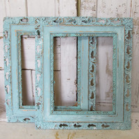Large wooden frames shabby chic vintage lace edge aged distressed hand painted aqua sea foam wall decor anita spero