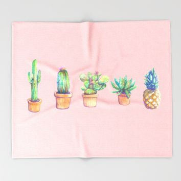 evolution cactus to pineapple pink version Throw Blanket by Franciscomffonseca