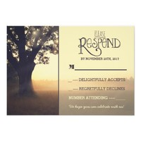 Garden lights tree rustic wedding RSVP 3.5x5 Paper Invitation Card