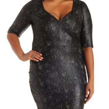 Plus Size Snakeskin Print Bodycon Dress