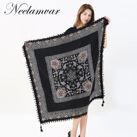 Neelamvar 2017  Ladies Big Square Scarf Printed Women Brand Wraps Hot-Sale Winter ladies Scarves cotton india floural headband