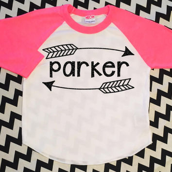 Personalized Name Glitter Shirt Toddler Girl Top Sparkle Neon Pink Raglan Hipster Baby Clothes Custom Baby Shower Gift Baby Glitter Outfit