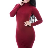Burgundy Long Sleeve Turtle Neck Midi Dress Sizes S-M-L