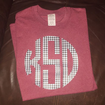 Houndstooth Monogram Shirt, Monogrammed Shirt, Game Day Shirt, Alabama Shirt, Football Shirt