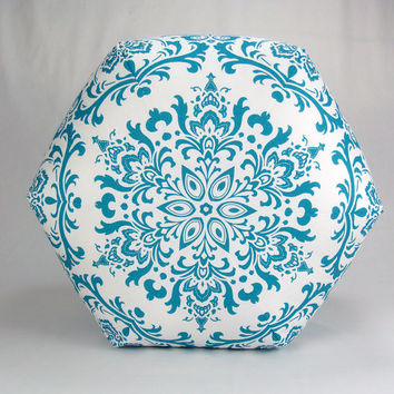 "24"" Floor Ottoman Pouf Turquoise & White - Damask Contemporary Modern Print"