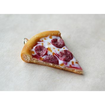 Pepperoni Pizza Charm, Key Chain, Stitch Marker, Polymer Clay