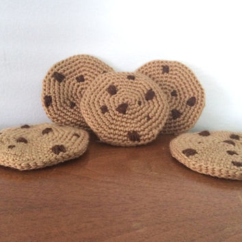 Crochet Chocolate Chip Cookie - Amigurumi Cookie Plush - Soft Play Food - Crocheted Cookies - Crochet Amigurumi - Tea Party - Plush Sweets