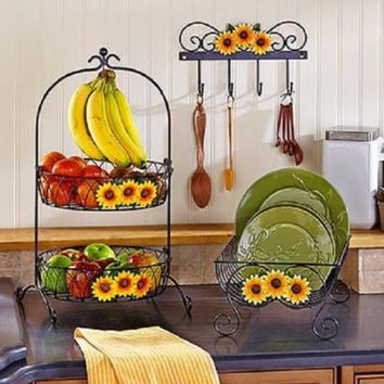 Sunflower Country Kitchen Decor Collection Iron Farmhouse Rustic Primitive NEW