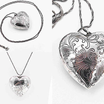 "Vintage Sterling Silver Puffy Heart Pendant Necklace, Large, Chased, Floral, Scrolling, 34"" Twisted Foxtail Chain, So Nice! #c224"