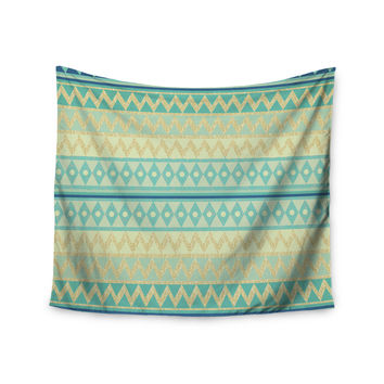"Nika Martinez ""Glitter Chevron in Teal"" Blue Pattern Wall Tapestry"