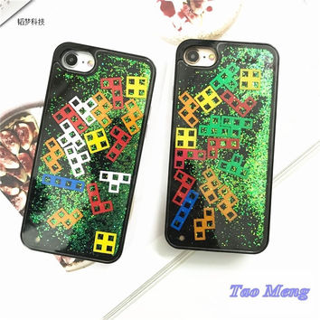 Tetris Shimmering Powder Quicksand flash phone shell Iphone7 Plus Hand Shell for i6s Full Package Protect Sheath Originality -0325