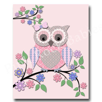 Pink owl nursery art, kids room wall decor play room decor nursery wall art baby girl room wall decor kids room decoration nursery artwork