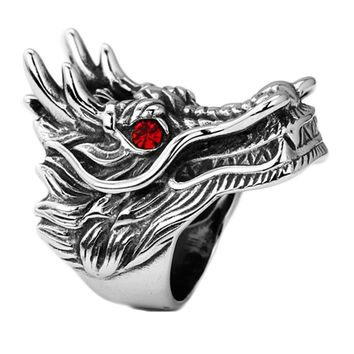 hot sale Dragon Head Rings For Men Punk Rock Style Red Stone Rings Party Jewelry personalized exaggerated rings
