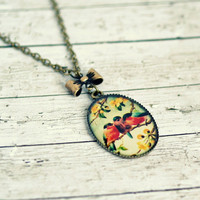 three little birds brass pendant necklace, charm necklace,