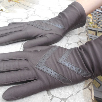 "Vintage Women's Gloves 1970s Dark Brown Isotoner Gloves  Winter Gloves  One Size Fits All 9"" Length"