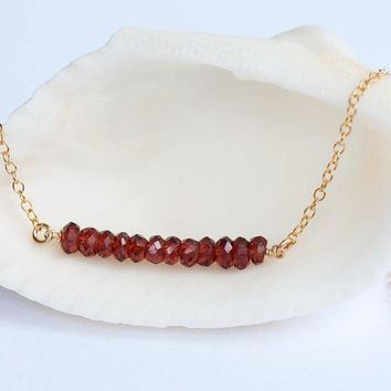 Delicate Garnet Necklace, January Birthstone, Bridesmaid Gift