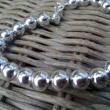"Naomi Crowther Collection  ""Cape Cod"" Beaded Silver Plated bracelet - stamped 925 with 20 elegant 7mm balls"