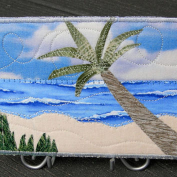 Fabric Postcard Art Quilt,Beach Landscape Mini Applique Art Quilt