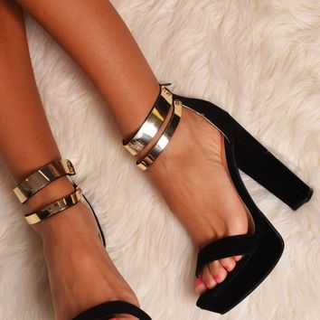 Mackay Black and Gold Effect Suede Heels   Pink Boutique