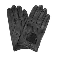 Forzieri Designer Men's Gloves Men's Black Italian Leather Driving Gloves