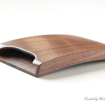 Walnut business card holder - impressive new bent design by Woodstorming