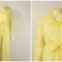 SALE Vintage Dressing Gown Robe Peignoir Feiner Fashion Lemon Yellow Polka Dots Floral Filmy Dressing Robe Lot Size 8 Modern Small to Medium