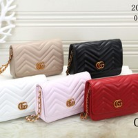 """Gucci"" Fashion All-match Double G Letter Embossed Metal Chain Single Shoulder Messenger Bag Women Clutch Small Square Bag"