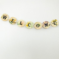 WELCOME bunting, Welcome garland, flower bunting, wedding decor, floral garland, paper bunting, recycled banner