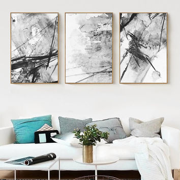 Modern New Chinese Abstract Ink Splash Painting Paint Poster Art Canvas Painting On The Wall Image Modern Home Decoration AB019
