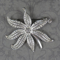 Vintage Scrolling Filigree Sterling Silver German Leaf Brooch