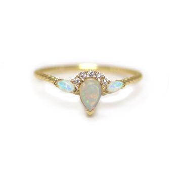 14kt Opal & Diamond Carpe Diem Sunrise Ring