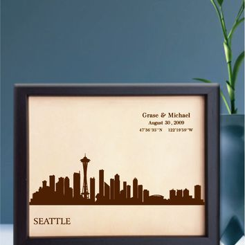 Lik252 Leather Engraved Wedding Third Anniversary seattle city Longitude Latitude personalized gift place house wedding