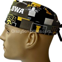 Men's Fold-Up Cuffed or Un-Cuffed Surgical Scrub Hat Cap in Iowa Hawkeyes New Block