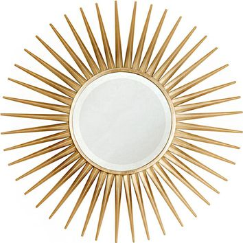 Quick Overview:Gold Leaf Starburst Mirror