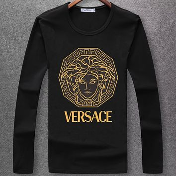 Boys & Men Versace Fashion Casual Long Sleeve Shirt Top Tee