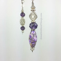 Ceiling Fan and Light Pull Chains.  Sold as a Single Pull or Set.  Purple Home Decor Fan Accessory.