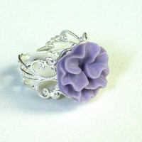 READY TO SHIP for Valentine's day: Lila curly cabochon flower,silver plated, ring