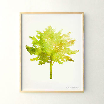 Yellow green Tree art Nature print, Living room decor, Nature art 11x14 print, Tree decor, PRINTABLE wall art print, Home decor Poster print