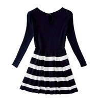 TopStyliShop Woman's Stripes Round Neck Knitted Dress with Cut Out Back S091917 Color Black
