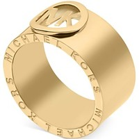 Michael Kors Gold-Tone Logo Band Ring