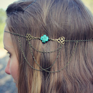 turquoise cross head chain, chain headband, flapper headband, bridal headband, unique headband