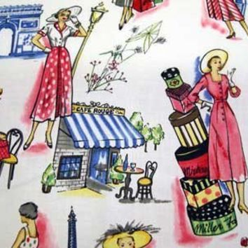 Retro Miller SPRINGTIME IN PARIS France Quilt Fabric by the Yard