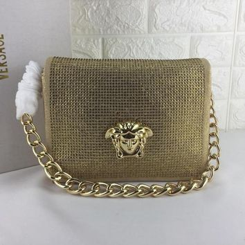 DCCK V0003 Versace Suede Diamante Chain Type Carrying Handbag 24-11-18cm Gold
