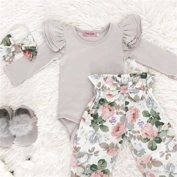 Baby Girls Gray and Floral Ruffle Romper 3 pc. Set