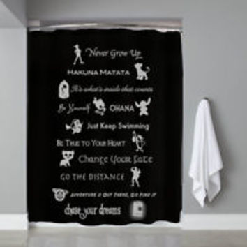 Disney Lesson Quote Black Learn Mashup Custom Shower Curtain Limited Edition