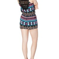 Tribal Button Front Crochet Back Romper