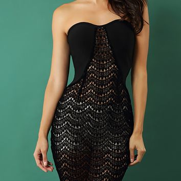 Open To Love Black Sheer Lace Strapless Bodycon Midi Dress